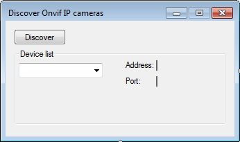 The Graphical User Interface of an application for discovering Onvif IP cameras on local network in C#