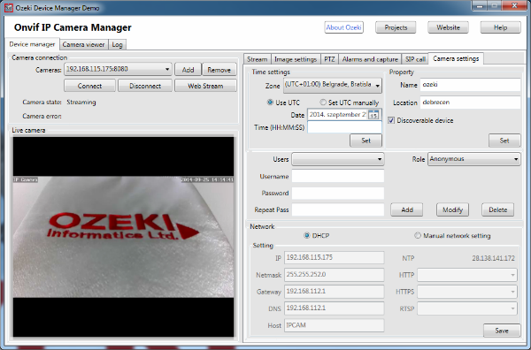 General and security settings in the Onvif IP Camera Manager