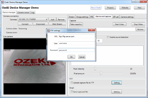 FTP settings in the Onvif IP Camera Manager