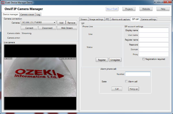 SIP call settings in the Onvif IP Camera Manager