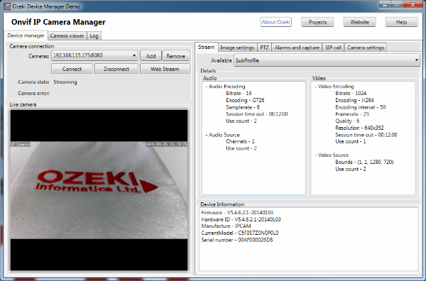 Image of the IP camera and its device informatino in the Onvif IP Camera Manager