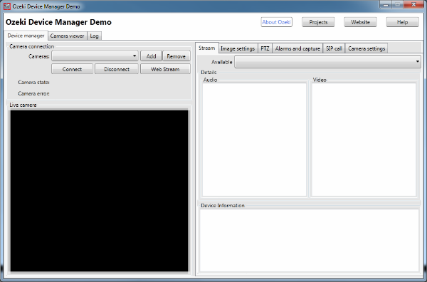 The Graphical User Interface of the Onvif IP Camera Manager