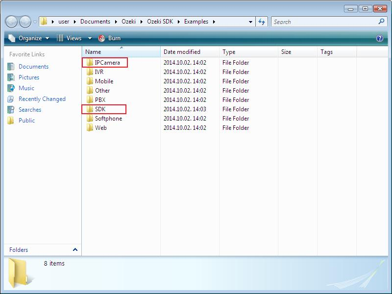 How to reach Ozeki Camera SDK exmaple programs in Windows Explorer