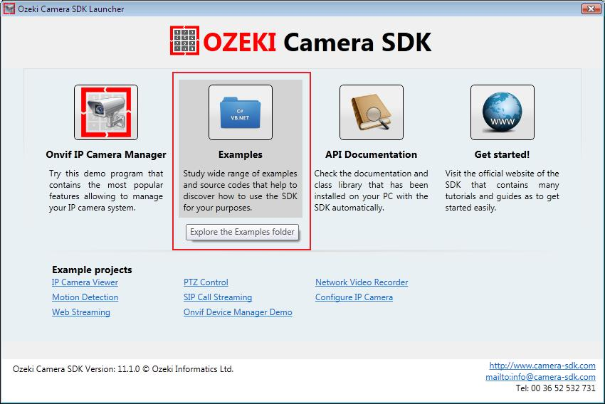 Graphical user interface of Ozeki Camera SDK, example programs, documentation