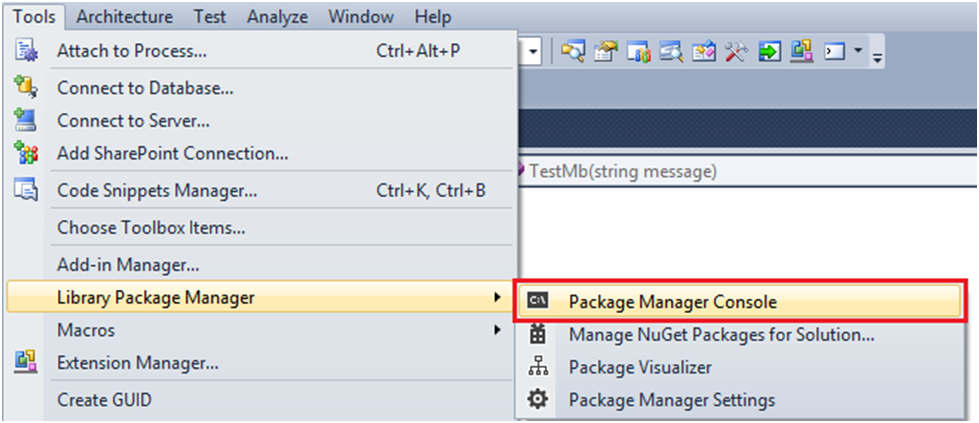 How to open the Package Manager Console in NuGet