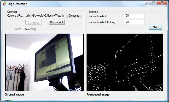 The Graphical User Interface of an application for edge detection in C#