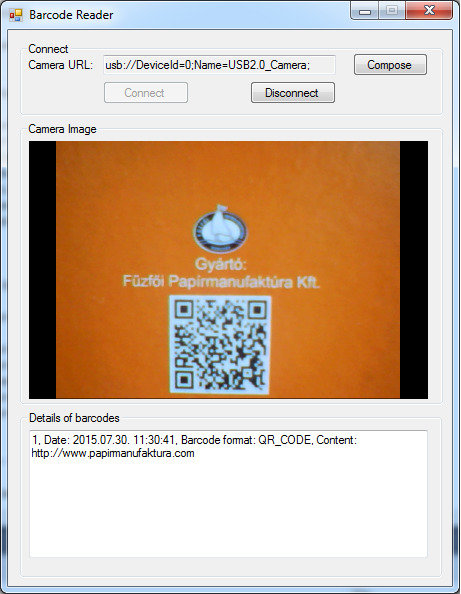 The Graphical User Interface of an application for barcode scanning/QR code detecting from the video stream of a USB camera in C#