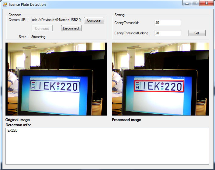 The Graphical User Interface of an application for license plate recognition in C#