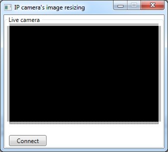 The Graphical User Interface of the application for resizing the image of the camera in C#