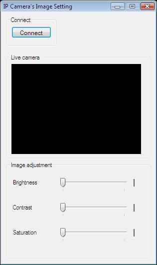 The Graphical User Interface of the application for adjusting brightness, saturation and contrast in C#
