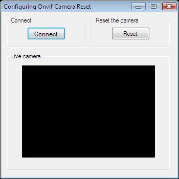 The Graphical User Interface of an application for resetting camera settings in C#