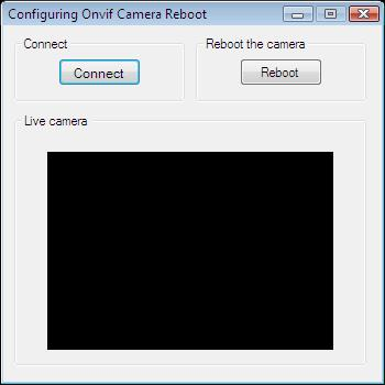 The Graphical User Interface of an application for rebooting an Onvif camera in C#
