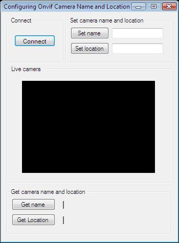 The Graphical User Interface of an application for setting/querying camera name and location in C#