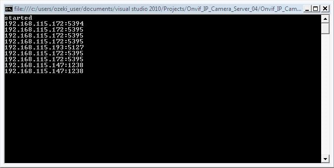 The console output of an application for streaming video to multiple locations in C#